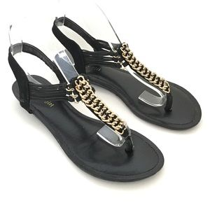 Madden girl Black metal/stone embellished sandals
